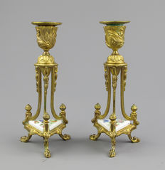A pair of gold plated Brass candlesticks - France - ca. 1880.