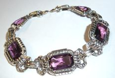 Bracelet in 925 silver with 5 purple colour stones amethyst colour