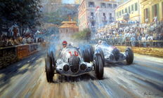 """Last of the Titans"" - Mercedes-Benz W125 - Monaco Grand Prix 1937 - Manfred von Brauchitsch (Winner)/Caracciola   - Fine Art Print"