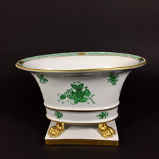Herend - claw foot oval jardiniere 'Green Chinese Bouquet'