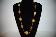 Natural Baltic Amber necklace with silver 54 gr.