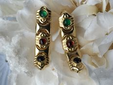 Gold earrings with natural emerald/ruby and sapphire