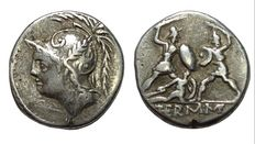 Roman Republic - Q. Minucius M.f. Thermus - AR Denarius (18 mm; 3,89 g), c. 103 BC - Rome mint - Head Mars / Soldiers   - Cr. 319/1