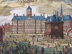 Amsterdam; Nine engravings and hand coloured lithographs of City Hall - 18th/19th century