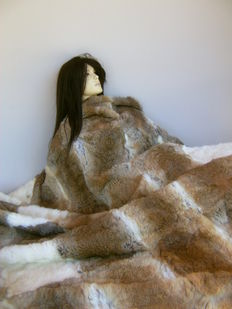 Hand-made rabbit fur - bed cover