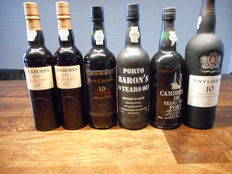 Cockburn's 20 year old Tawny Port 50cl x2 & Taylor's 10 year old Tawny Port & Symington Five Crown's 10 year old Tawny Port & Baron's 10 year old Tawny Port & Cambridge 10 year old Tawny Port – 6 bottles in total
