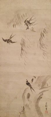 Scroll painting of Swallows in their natural habitat by Momotaro Morichika 百太郎守親, extensively signed and sealed - Japan - ca. 1800