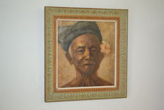 Oil paint on canvas, signed, Balinese man - Indonesia
