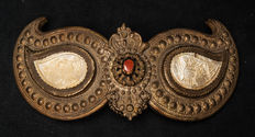 A few rare copper pant buckles with mother of Pearl and cornaline - Southern Europe - 19th century