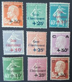 France 1927 to 1931 - Three complete series of Caisse d'Amortissement - Yvert no. 246 to 248, 249 to 251 and 253 to 255.