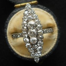 RARE Antique Diamond Marquise Ring, Gold and Silver mounting, Old cut Diamonds 1,57 ct, Stunning!