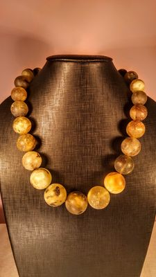 Genuine Green tint  Baltic amber necklace, polished and brushed beads,  168 gr