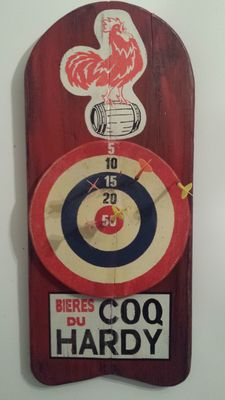 Just like in old times in village cafes and bistros, superb antique advertising sign made from wood with large target darts COQ HARDY beer