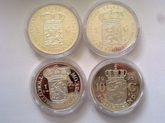 """The Netherlands – Various medals """"The History of the Dutch Guilder"""" (4 different) – Silver"""