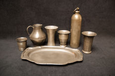 Seven pewter objects-Dutch-early 19th and early 20th century.