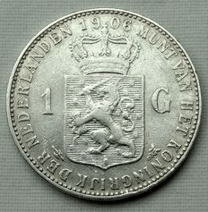The Netherlands – 1 gulden 1906 Wilhelmina – silver