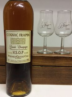 Cognac Frapin Grande Champagne Cuvee V.S.O.P. Rare Premier Grand Cru OWC ( Wood Heavy) With Glasses, Cognac, France, 1 bottle 70cl 40 % Vol