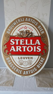 Antique sheet metal advertising plate. Stella Artois beer, Double sided, from 1989.