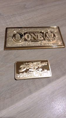 Disney, Walt - 2 Gold-plated bars - Scrooge McDuck - One dollar + Ducktales, Late 1990s
