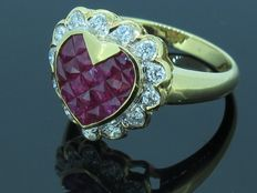 A diamond ruby ring with heart shape, natural diamond