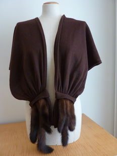 Large scarf/stole - wool with fur - made in Italy