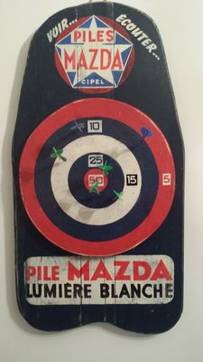 Just like in old times in village cafes and bistros, superb antique advertising sign made from wood with large target darts PILES MAZDA