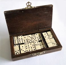 Dominoes ivory on ebony Domino game, miniature from the Dutch East Indies ca. 1920.