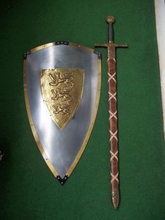 Excalibur, the sword of King Arthur and metal shield of King Richard of Lionheart - very decent quality - very good condition.