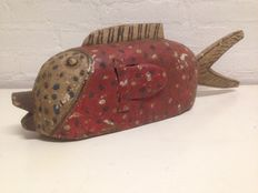 African Red Fisch Puppet Mask - BOZO - Mali
