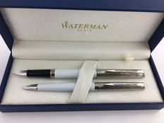 Waterman Hemisphere Deluxe set.  White, ball pen + roller.  Mint Condition.