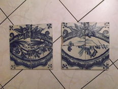 (8) Monochromatic Tiles (2 Sets of 4) from the 19th Century, Portugal