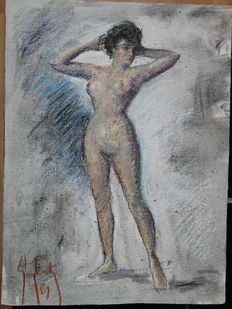Guy Carton (20th c) - Standing nude