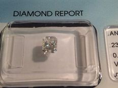 Brilliant radiant cut diamond weighing 0.47 ct, D/VS1, sealed with IGI certificate.