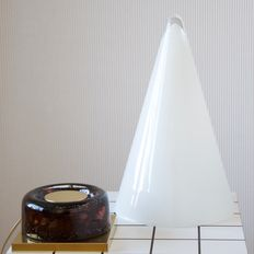 SCE France and unknown manufacturer - largest version of glass conical lamp TeePee and brass French wall light