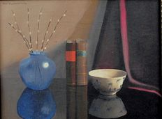 Nico Bruynesteyn. (1893-1950) - Cobalt Blue Vase with kittens, books and a small bowl