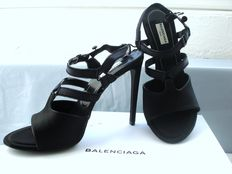 Balenciaga – Italy - Black Satin Fringed Open Toe Sandal Slingback Heel - Pristine in Box