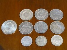 France – 2–50 Francs, 1841–1975 – lot of 10 silver coins
