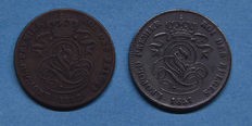 Belgium – 2 Centimes 1851, 1852, 1858 and 1859 Leopold I