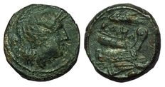 Roman Republic - Post-semilibral with corn-ear - AE Uncia (20 mm, 6,31 g) - Sicily mint, c. 214-212 BC - Head Roma / Prow of Galley - Cr. 42/4