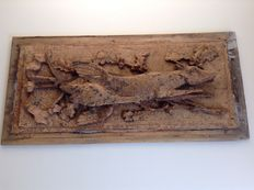 A wooden carved hunting scene - France - ca 1850