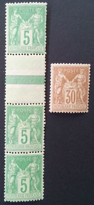 France 1881 to 1900 - Selection of 2 stamps, sage type including two 5 c. green-yellow, signed Roumet - Yvert No. 80a and 106a-106.