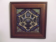 Polychromed block with four tiles (4 azulejos) and framed - Spain/Portugal - circa 1920