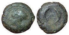 Greek Antiquity - Italy, Sicily, Dionysos I (405-367 BC) - AE Drachm (30 mm; 31,81 g) - Syracuse mint  - Head Athena / Two dolphins - SNG ANS 462
