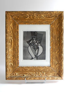 Beerendonk - naked in Art Nouveau frame - drypoint etching