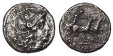 Roman Republic - C. Maianius - AR Denarius (18 mm; 3,31 g), c. 153 BC - Rome mint - Head Roma / Victory in biga  - Cr. 203/1 a