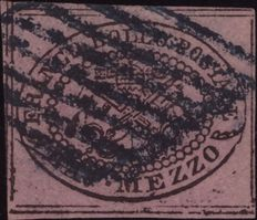 Historic States of Italy, Papal States, 1852 – ½ bajocco (Sassone 1d)
