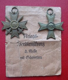 2 pieces KVK 2nd Class / War Merit Cross 2nd Class with and without swords / WW2