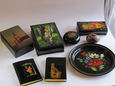 Russia, lacquer boxes and notebooks, tray, palex school egg and others