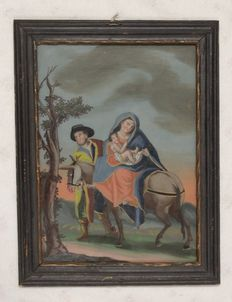 "Religious ""Holy Family"" painting behind glass, black/gold wooden frame, ca. 1880"