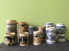 Lot of 10 beer mugs from Germany and Netherlands